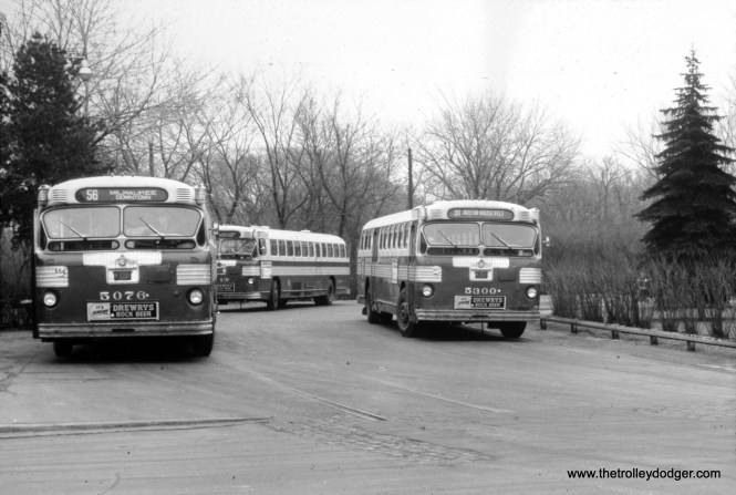 CTA buses 5076 and 5300 at the Imlay loop, at Milwaukee and Devon.