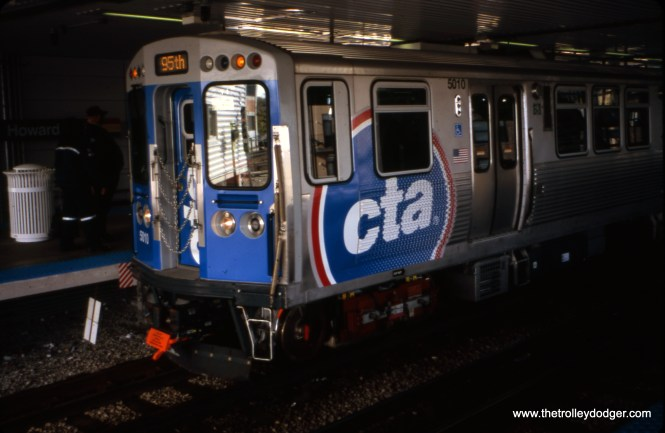 Chicago, IL. CTA car 5010 leads the inaugural revenue run of 5000-series cars on CTA's Howard-Dan Ryan Line at Howard terminal. The view looks W-NW on April 19, 2010. (William Shapotkin Photo)