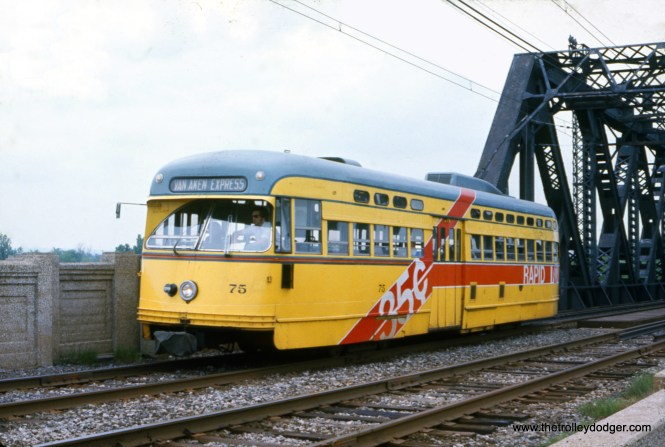 Cleveland RTA PCC 75 is at East 83rd Street on the Shaker Heights Rapid Transit line on May 30, 1976.