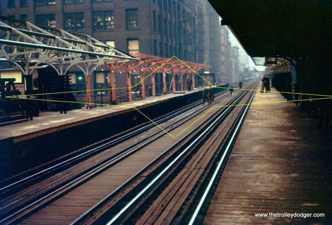 """Graham Garfield thinks this is the """"L"""" station at Quincy and Wells, looking north."""