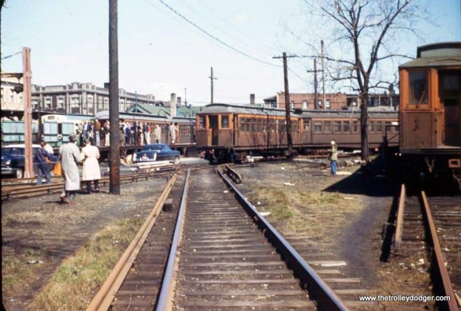 The Ravenswood terminal at Kimball and Lawrence in the mid-1950s. The occasion was probably a Sunday fantrip on wooden