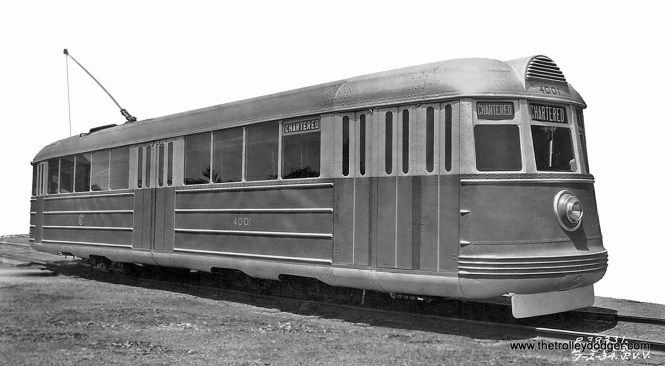 """An """"as built"""" photo of experimental Chicago Surface Lines car 4001 in 1934. It was built by Pullman-Standard, and its body shell is now at the Illinois Railway Museum. (Jack Bejna Collection)"""
