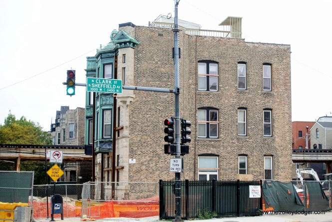 The three-story Vautravers Building at 947 West Newport Avenue was recently moved 30 feet to the west by the CTA as part of the flyover project, so a curve could be straightened out.