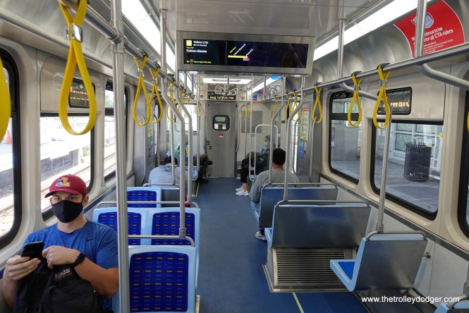 The 7000s interior. There is less sideways seating than on the 5000s, which should prove popular with riders.
