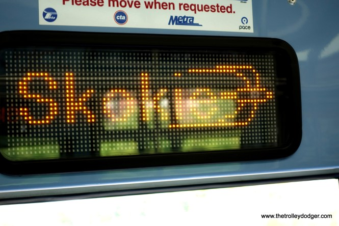 Although the Skokie Swift has been renamed the Yellow Line, the CTA still uses this distinctive logo. I believe it was designed by the late George Krambles.