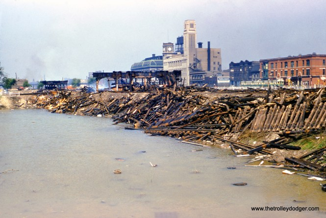 """On June 6, 1954, William C. Hoffman took this picture looking to the northwest at Congress and Bishop Streets (1432 W.), showing the demolition of main line of the Metropolitan """"L""""."""