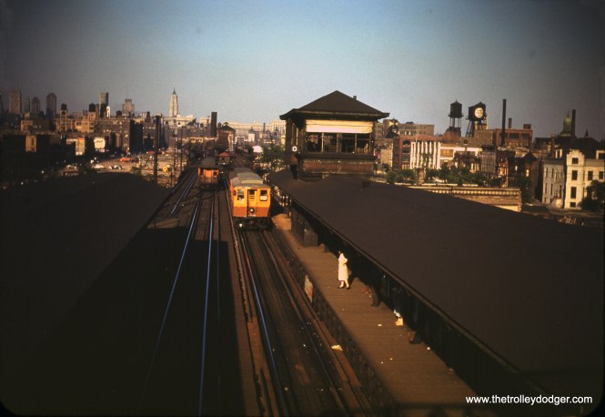 """The view looking east along the Metropolitan """"L"""" at Marshfield on June 6, 1950. (William C. Hoffman Photo)"""