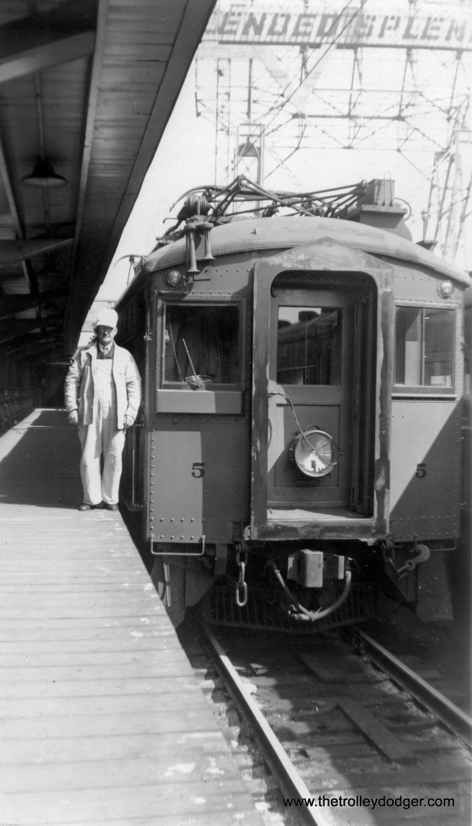 South Shore Line coach #5 at Randolph Street Station in Chicago, Illinois on April 20, 1949. The motorman is Carl Edward Hedstrom, Sr. (Carl Edward Hedstrom, Jr. Photo)