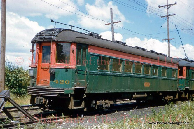 """NSL 420 in Mundelein by Robert E. Bruneau, 8/20/61. Don's Rail Photos: """"420 was was built by Pullman in 1928 as an observation. It was out of service by 1932. On July 21, 1943, it reentered service as a motorized coach. It was sold to Seashore Trolley Museum in 1963."""""""