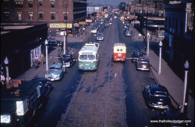 """On July 3, 1950, a CTA trolley bus operates on the 51-55 Route on 51st Street near the South Side """"L"""". (William C. Hoffman Photo, William Shapotkin Collection)"""