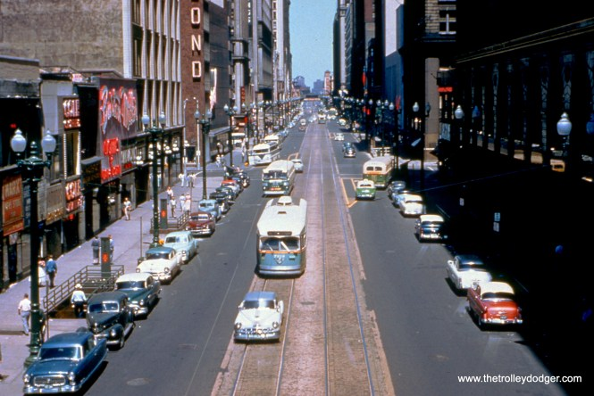"""The view looking north from the old Loop """"L"""" station at State and Van Buren on July 25, 1954. (William C. Hoffman Photo, William Shapotkin Collection)"""