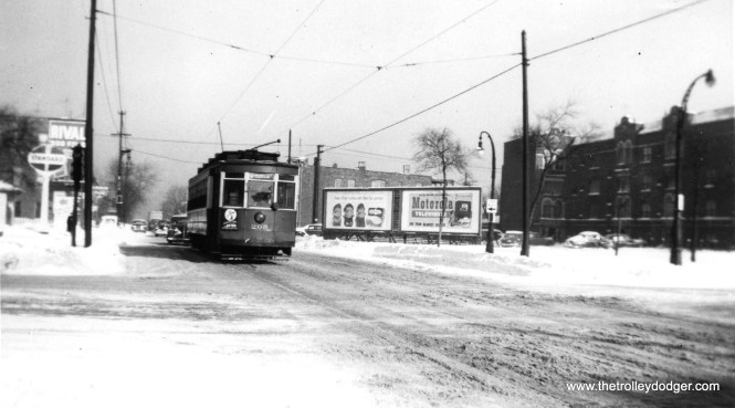 """CSL 205 is on Route 6, and is apparently westbound, heading to Van Buren and Kedzie. Streetcars were replaced by buses on this route in 1951, and from 1953-58, Garfield Park """"L"""" trains ran on Van Buren, between Sacramento Boulevard and Aberdeen (William Shapotkin Collection) Daniel Joseph adds: """"My uneducated guess this may be at Kedzie and Douglas with a #12-Roosevelt heading to the car barn. Note the divided boulevard with a parkway and West Side Park District street lamps. But I do not see a traffic signal for the part of the boulevard traveling to the left. If that street is not part of the boulevard, this could be Van Buren and Sacramento."""" Since the car is signed for Route 6 - Van Buren, I am going to go with Van Buren and Sacramento."""