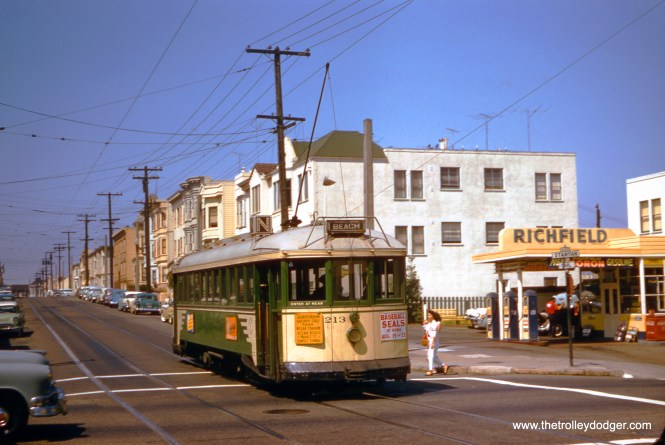 """SF Muni """"Iron Monster"""" 213 on the N Line, west of the Sunset Tunnel, in 1957. (Clark Frazier Photo)"""