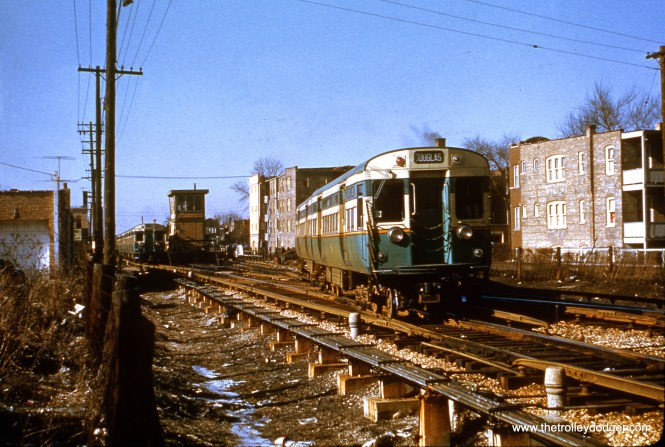 """6053-6054 near Oak Park Avenue on the Douglas Park """"L"""". The date given here (December 1953) must be wrong, as the line had already been cut back to 54th Avenue by then. It may be December 1950, as Douglas was the first line to use the new 6000s. (Truman Hefner Photo)"""