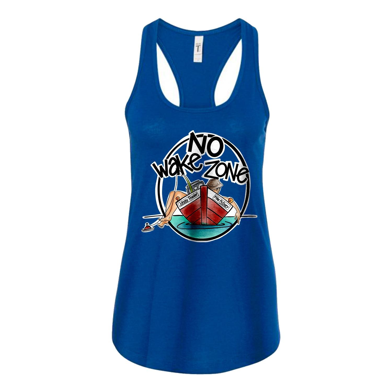 Johnny Russler No Wake Zone Ladies Racerback Tank, The Troprock Shop