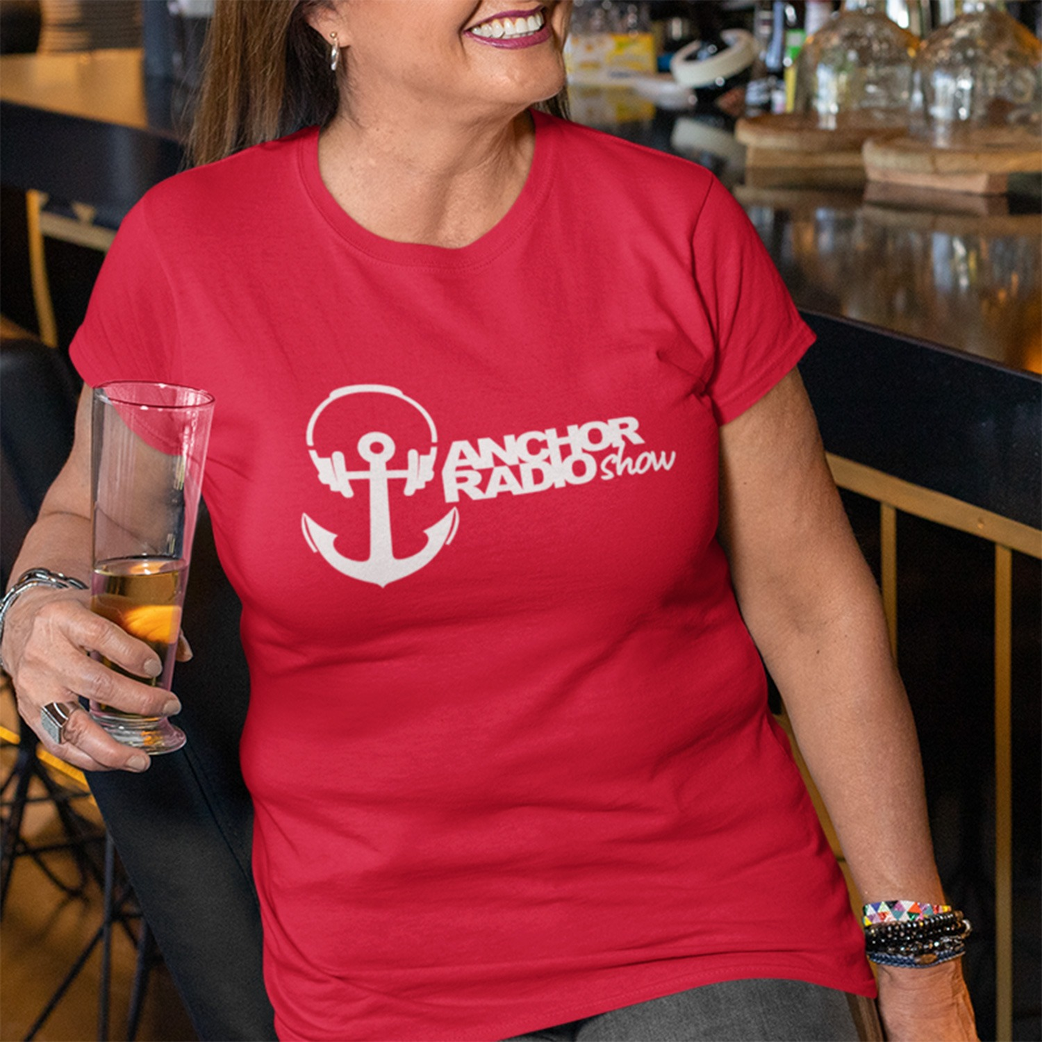 Anchor Radio Show Ladies Fitted T-shirt, The Troprock Shop