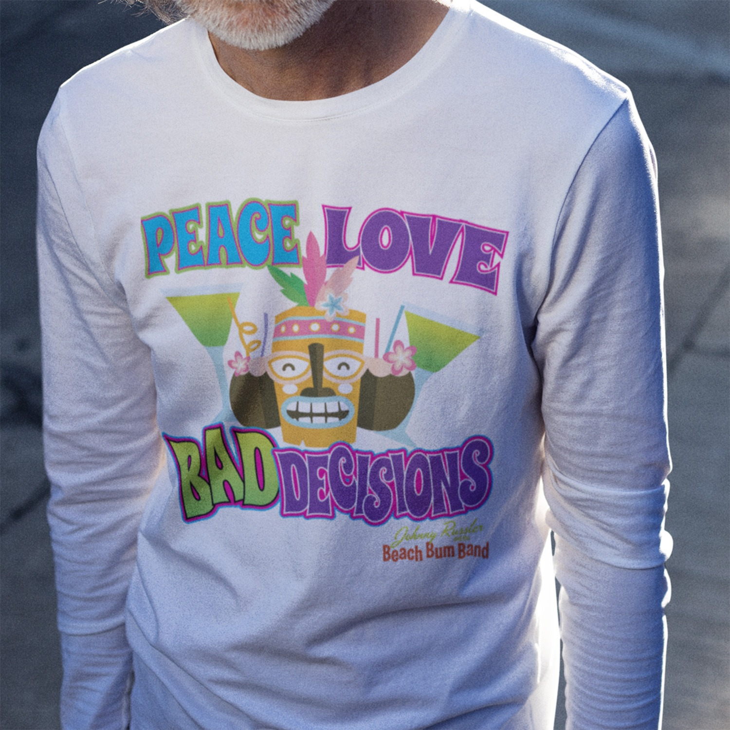Johnny Russler and the Beach Bum Band Peace Love and Bad Decisions Unisex Long Sleeve Tee, The Troprock Shop