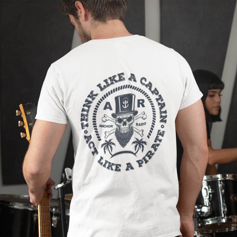 Anchor Radio Show Pirate Logo Unisex T-Shirt Logo On Back, The Troprock Shop