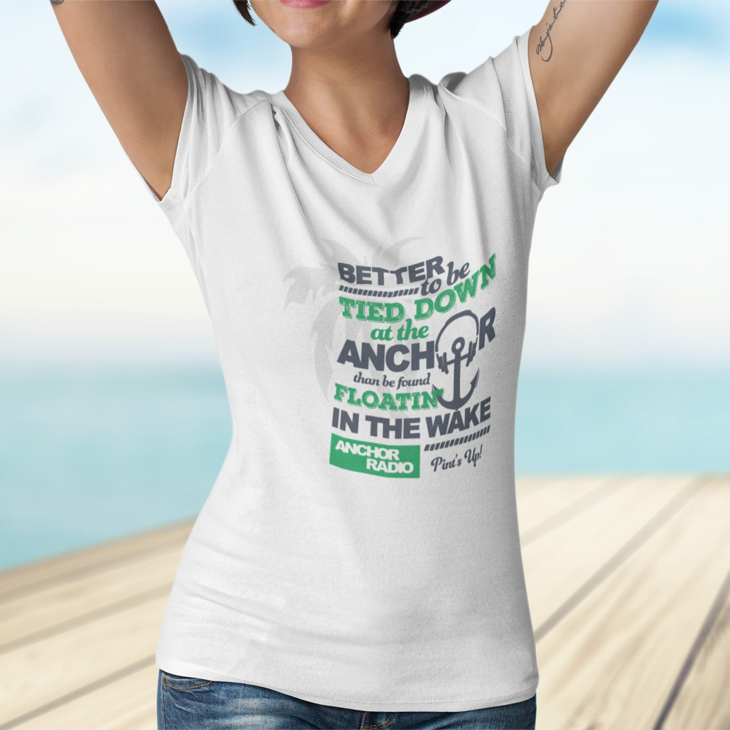 Anchor Radio Tied Down Womens V NeckTee, The Troprock Shop