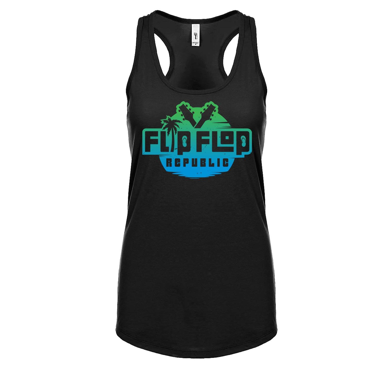 Flip Flop Republic Planet Earth Logo Women's Racerback Tank, The Troprock Shop