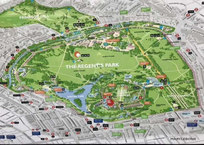 Map of Regents Park - Best Parks in London.