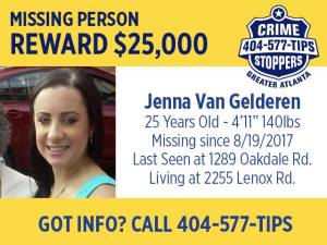 Photo of Jenna Van Gelderen missing person flyer