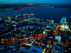 Night falling over Viaduct Harbour and Wynyard Quarter - View from SkyTower