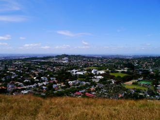 The view from Mt Eden with One Tree Hill in the distance