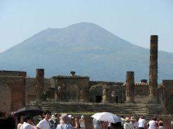 Vesuvius looming over Pompeii