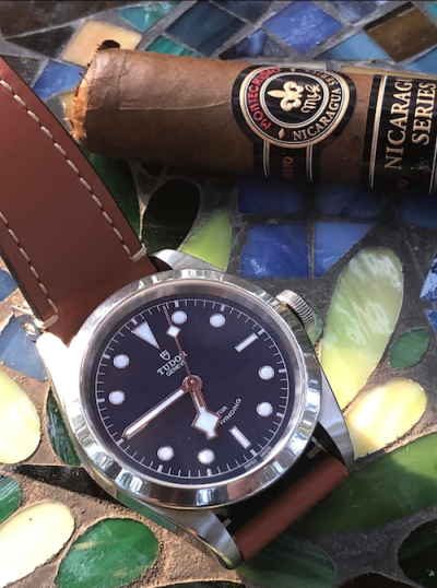 Tudor Black Bay 41 blue dial with Montecristo cigar