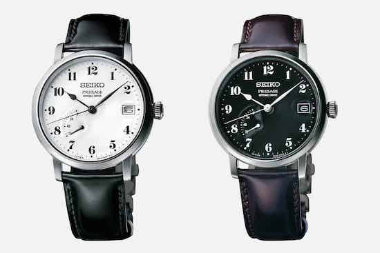 A pair of Seiko Presage Prestige Enamel Dial watches