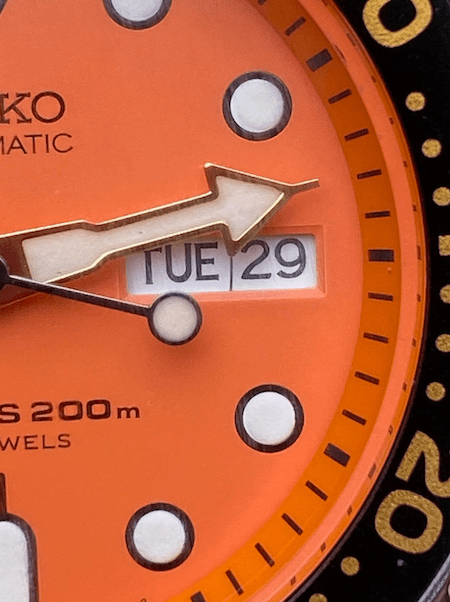 Date window, Seiko Diver (courtesy thetruthaboutwatches.com)