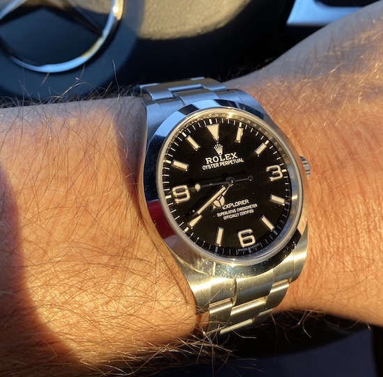 Rolex Explorer in car (courtesy thetruthaboutwatches.com)