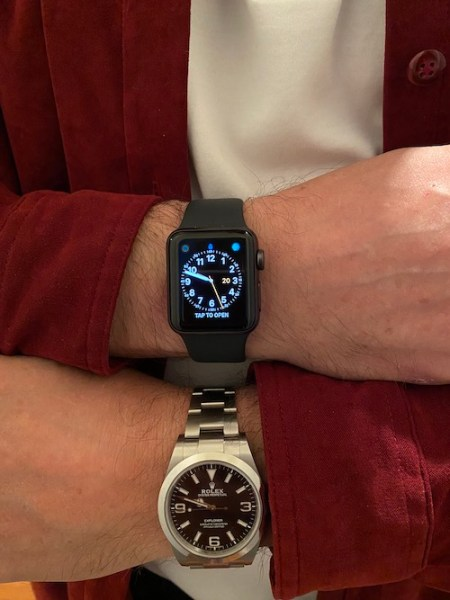 Apple Watch and Rolex Explorer (courtesy thetruthaboutwatches.com)