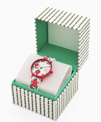 Helmstedt x Skagen Aaren Three-Hand Strawberry Print White Silicone 36mm Watch in box
