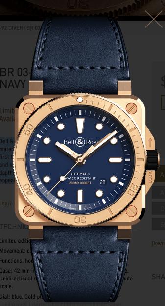 Bell & Ross Diver Bronze Navy Blue