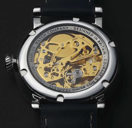 Coniston Bluebird Miyota movement - on display in a hand-wound watch