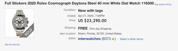 Ebay sold Rolex Daytona
