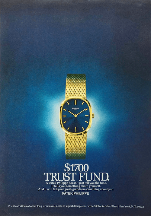 Patek trust fund ad. Nice try. Not an asset.
