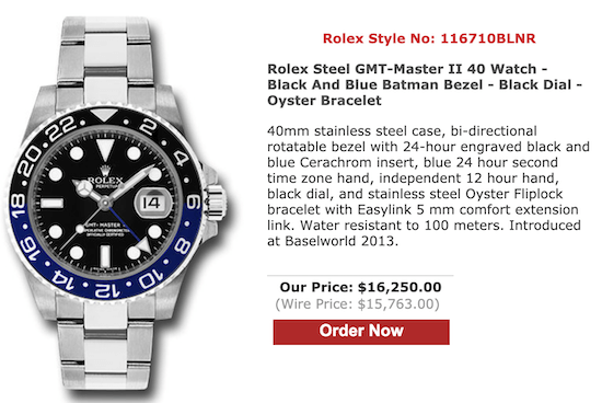 Rolex Batman from SwissLuxury.com)