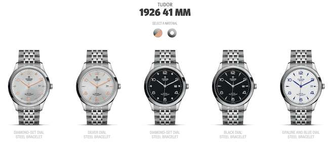 Tudor 1926 least expensive variations