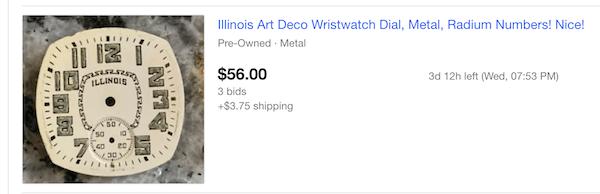 Illinois pocket watch radium dial
