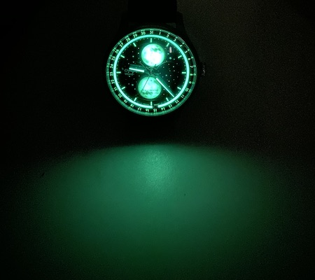 Christopher Ward C1 Moonglow glowing