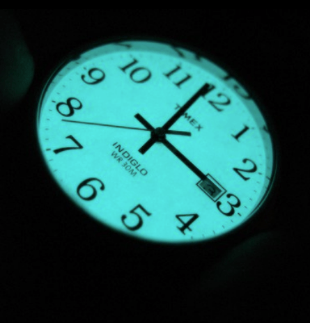 Timex Easy Reader Indiglo glowing