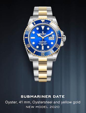 Blue Dial Submariner with Blue Bezel on Yellow Roselor bracelet