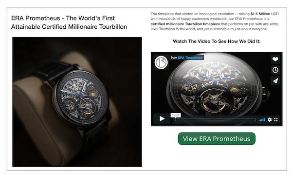ERA Timepieces landing page