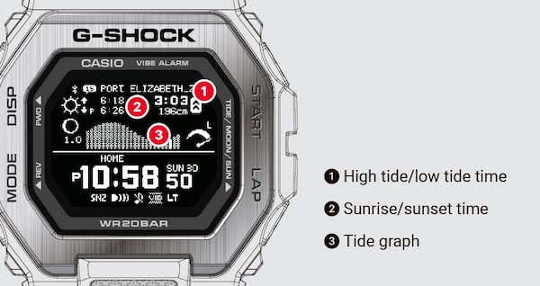 G-SHOCK tide and time indicator