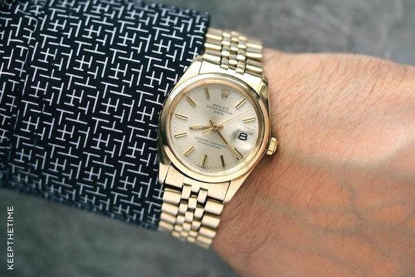 Rolex Date 1500 14k gold (courtesy keepthetime.com)