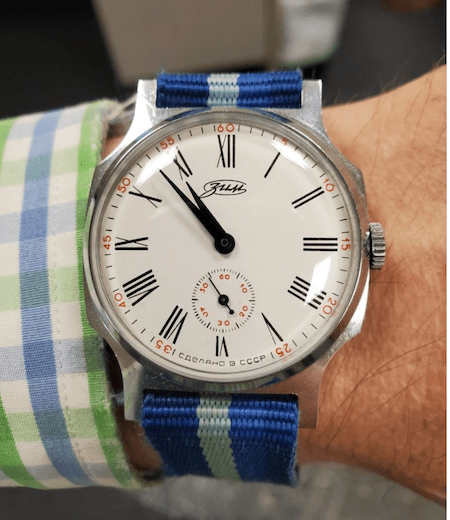 Pobeda Zim on colored cuff - watch collector