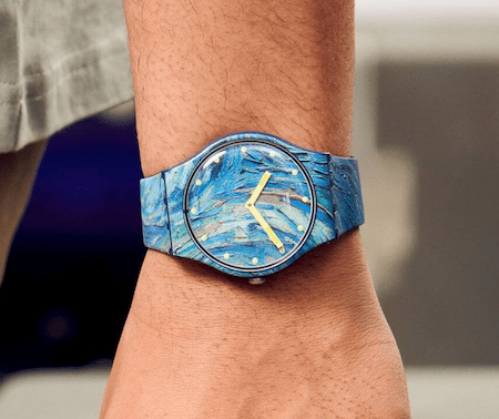 Swatch X MOMA The Starry Night By Vincent Van Gogh The Watch - on wrist